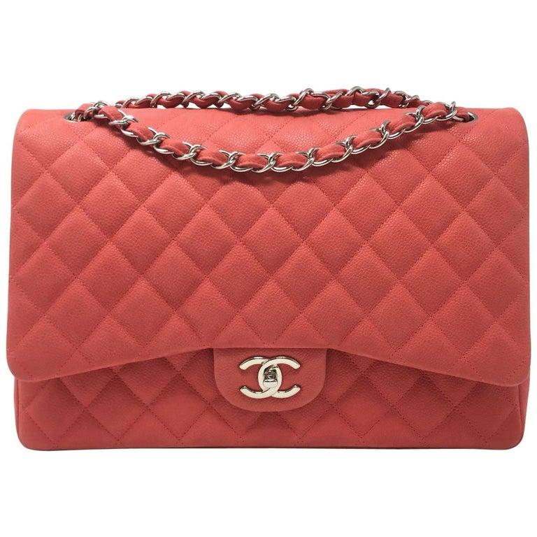 004b9d43b4 Chanel Paris Coral Caviar Matte Leather Maxi Jumbo Timeless Bag, 2015 For  Sale