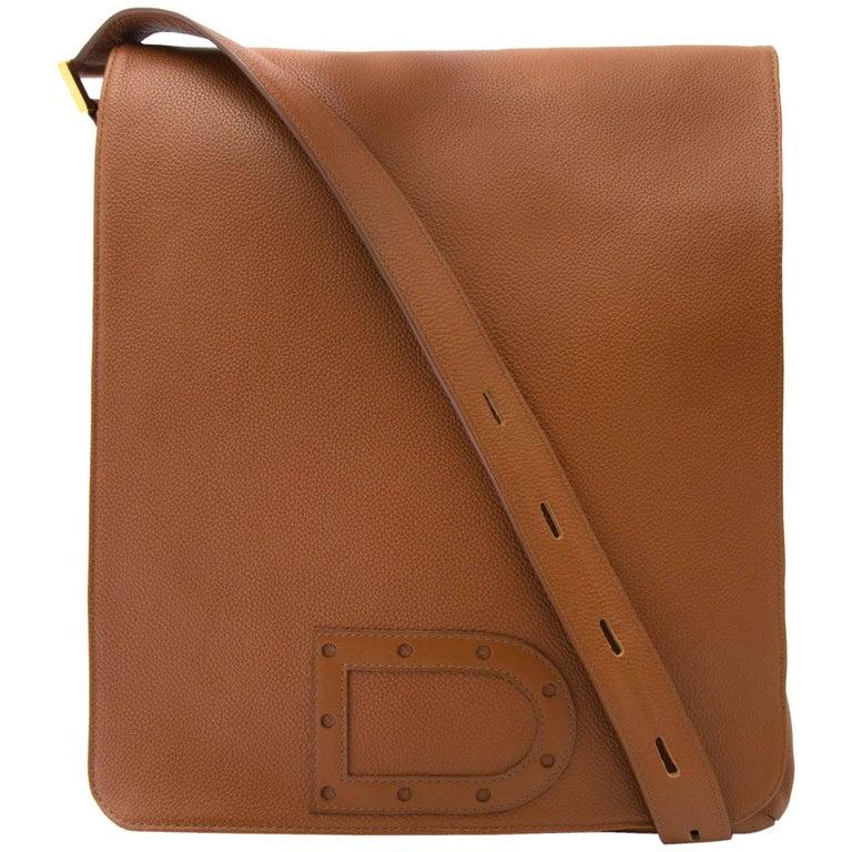 Delvaux Cognac Louise Baudrier Gm Shoulder Bag