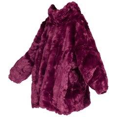 Giant Eggplant Purple Oversized Full Length Faux Fur Coat