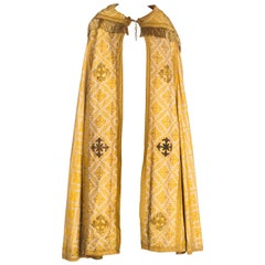 Antique Vetments Brocade Floor Length Gold Cape With Fringe & Crosses