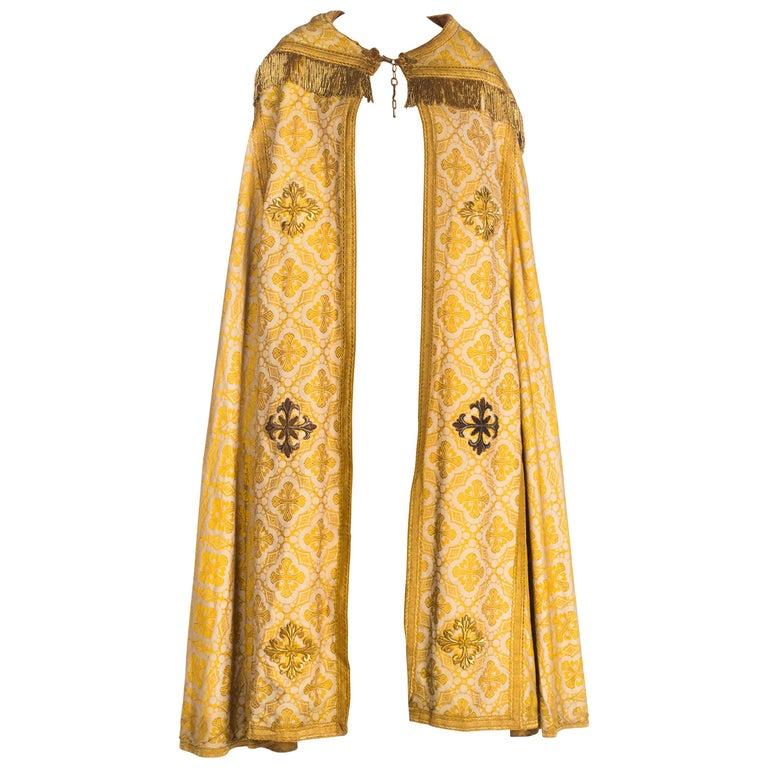 Antique Vetments Brocade Floor Length Gold Cape With Fringe & Crosses