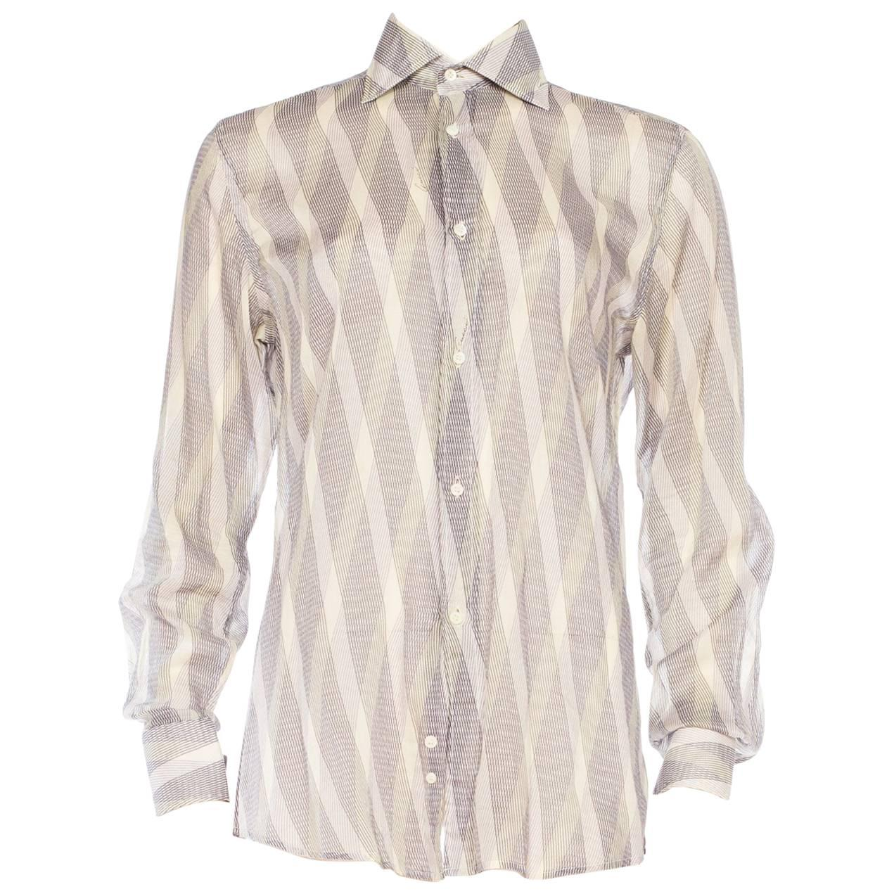 1990S GUCCI Men's 70S Style Sheer Diagonal Striped Shirt