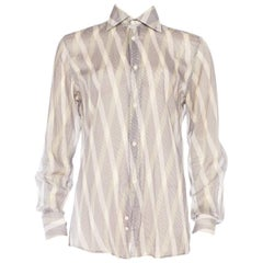 1990S GUCCI Men's 70S Style Sheer Diagonal Striped Shirt
