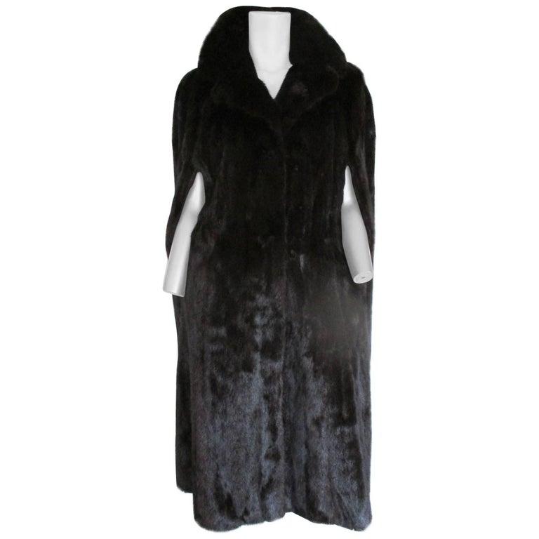 long mink fur cape