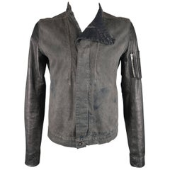 DRKSHDW by Rick Owens Charcoal Dyed Denim Black Leather Bomber Jacket