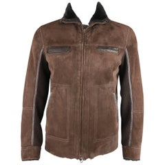 Theory Men's L Brown Suede Fur and Leather Shearling Zip Jacket