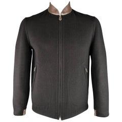 Hermes Men's Black Cashmere Leather Baseball Collar Jacket