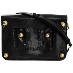 Fendi Black Textured Glazed Leather Studded Crossbody/Clutch Bag