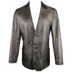 Men's PRADA 40 Dark Brown Distressed Crackled Leather Sport Coat Jacket