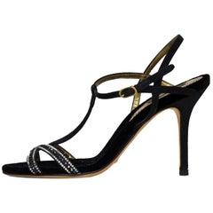 Dolce & Gabbana Black Crystal T-Strap Sandals Sz 36