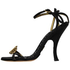 Dolce & Gabbana Black Satin Cameo Sandals Sz 35.5
