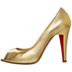 Christian Louboutin Gold Altadamia 100 Peep-Toe Pumps Sz 35.5 NEW