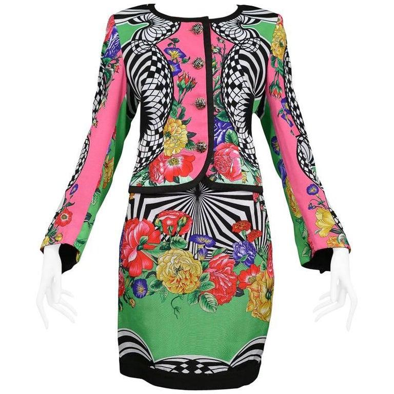 Versace 2 Op Floral Skirt Ensemble, 1992