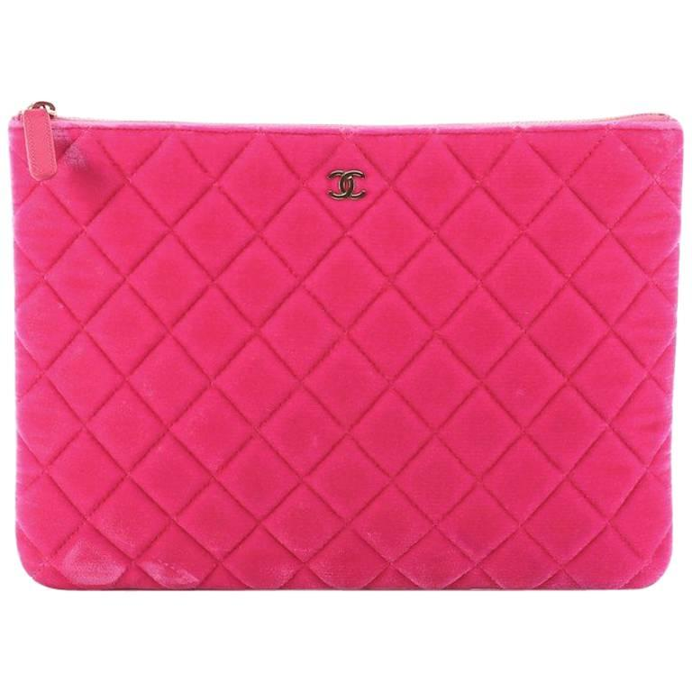 Chanel O Case Clutch Quilted Velvet Medium