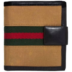 Gucci Tan Canvas & Leather Web Compact Wallet