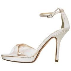 Jimmy Choo Ivory Satin Evening Sandals Sz 36.5