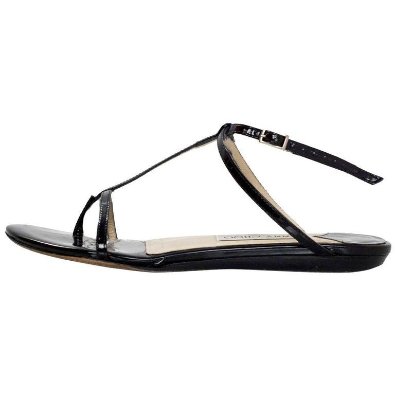 Jimmy Choo Black Patent T-Strap Sandals Sz 36