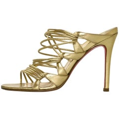 Christian Louboutin Gold Strappy Sandals Sz 35.5
