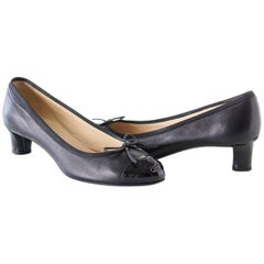 Chanel Black Leather Pump Patent Toe Cap and Heel Shoe