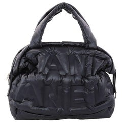 Chanel Doudoune Bowling Bag Embossed Nylon Large