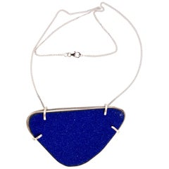 Michel McNabb for Basha Gold Blue Sugar Coat Enamel Silver Cage Necklace