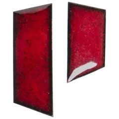 Michel McNabb for Basha Gold Ruby Red Enamel Strips Earrings