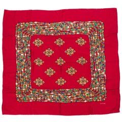 Chanel Red Jewel Silk Print Scarf
