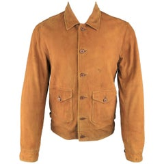 Men's RRL by RALPH LAUREN M Tan Dirty Distressed Suede Worker Style Jacket