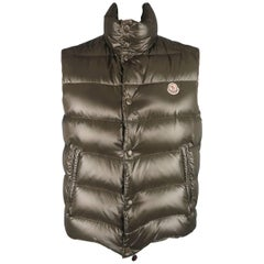 Men's MONCLER XL Olive Green Quilted Nylon Down Vest