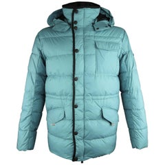 Men's KJUS L Teal Quilted Down Filled Polyester Hooded Ski Parka Jacket