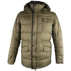 Men's KJUS L Olive Quilted Down Filled Polyester Hooded Ski Parka Jacket