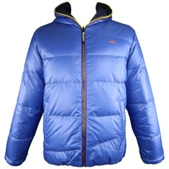 Men's KJUS 44 Blue / Navy Quilted Down Filled SHiny Nylon Hooded Puff Jacket
