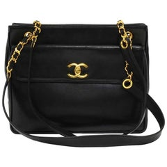 Vintage Chanel Black Lambskin Leather Medium Shoulder Tote Bag