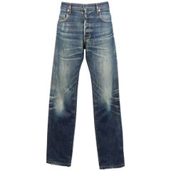 Men's DIOR HOMME Size 32 Indigo Dirty Washed Distressed Denim Slim Jeans