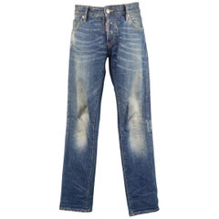 Men's DSQUARED2 Size 32 Distressed Dirty Medium Wash Denim Blue Jeans