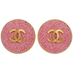 Chanel Oversized Pink Logo CC Earrings