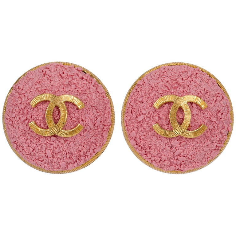 Chanel Oversized Pink Logo Cc Earrings For