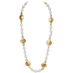 1980's Chanel Large Pearl Necklace With Coin