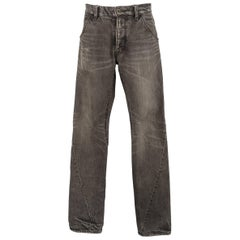 Men's ATTACHMENT Size 32 Charcoal Distressed Washed Denim Diagonal Seam Jeans