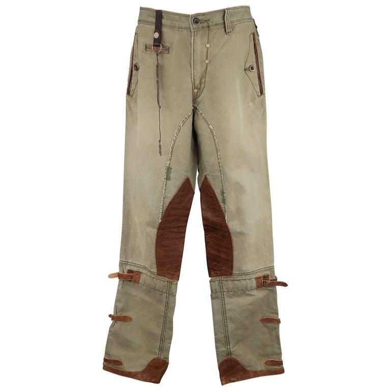 Men's RALPH LAUREN Size 32 Olive Canvas Tan Leather Panel Belt Tab Utility Pants