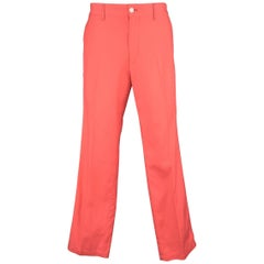 Comme Des Garcons Men's Bright Coral Cotton Flat Front Pants