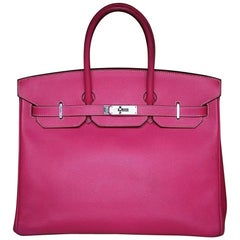 Hermès 35CM Candy Veau Epsom Rose Tyrien with Palladium H/W Birkin Bag
