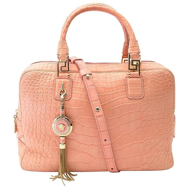 Versace Soft Pink Crocodile Bag