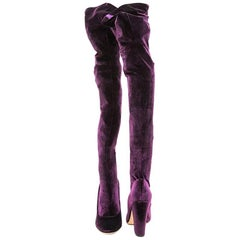 SERGIO ROSSI Thigh Boots in Plum Stretch Velvet Size 36