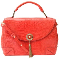 Atelier Versace Orange Crocodile Flap Bag