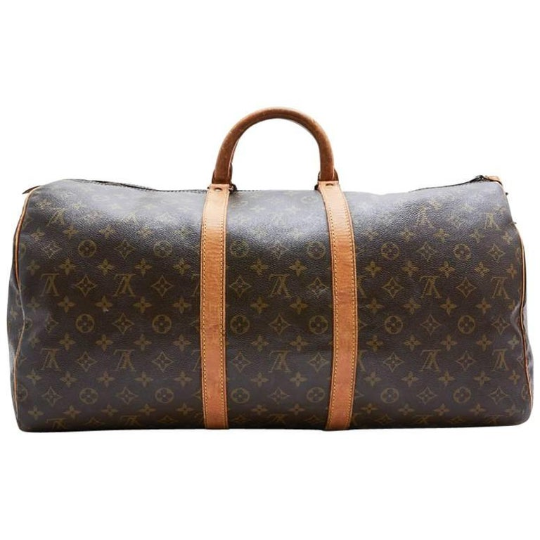 LOUIS VUITTON Keepall 55 Bag In Brown Monogram Canvas For Sale