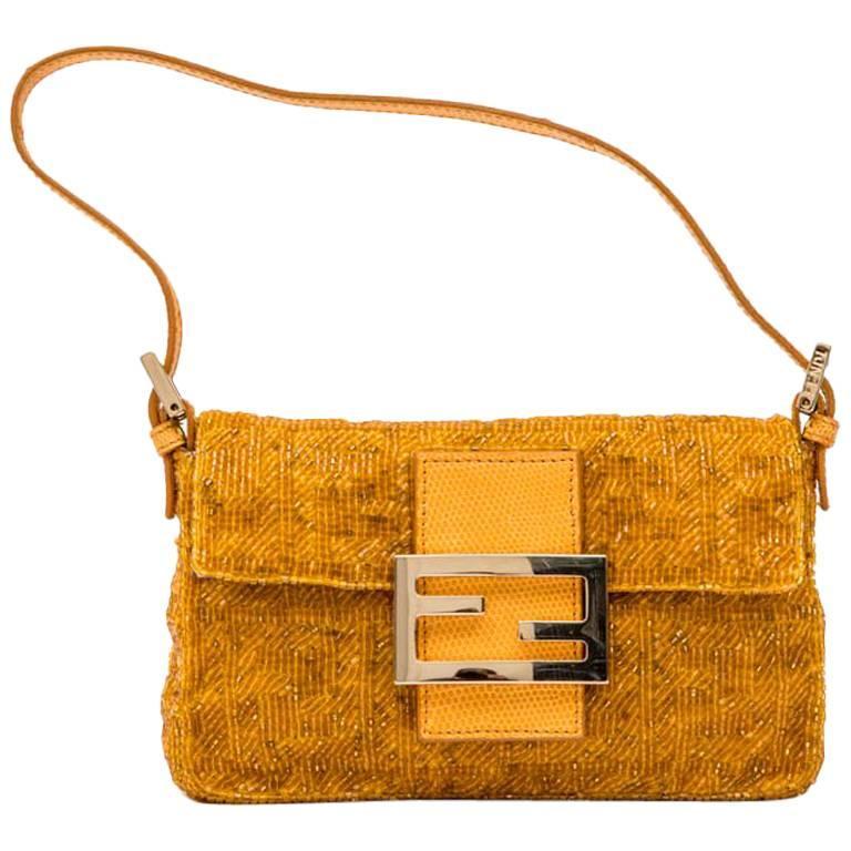 FENDI Mini 'Baguette' Beaded Bag in Yellow Ocher