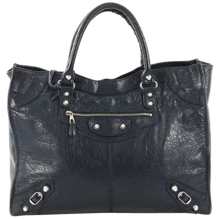 Balenciaga Work Classic Studs Handbag Leathe