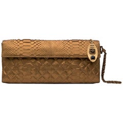 Long CHANEL Pouch in Matte Copper Gold Python