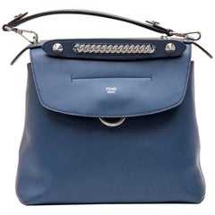 FENDI 'Back to School' Backpack in Soft Blue Leather